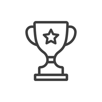 line icon of trophy cup isolated on white background