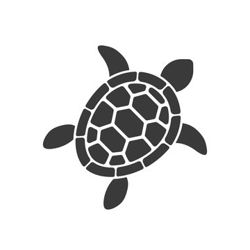 turtle vector silhouette on white background
