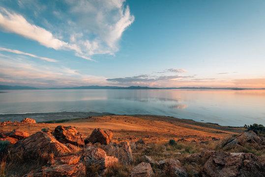View of the Great Salt Lake at sunset, at Antelope Island State Park, Utah