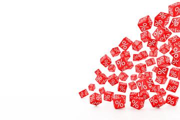 3d Illustration - rote Würfel mit Prozentzeichen