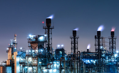 Industrial view oil and gas refinery,Detail of equipment oil pipeline steel at night background