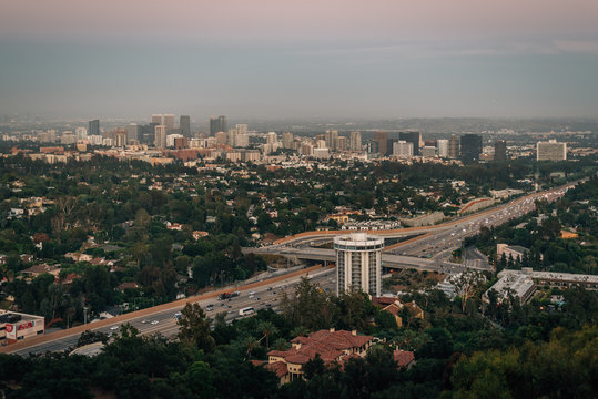 Sunset view of Westwood from The Getty Center, in Los Angeles, California