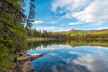 Reflections of mountains at Silver Lake, in Uinta-Wasatch-Cache National Forest, in Brighton, near Park City, Utah