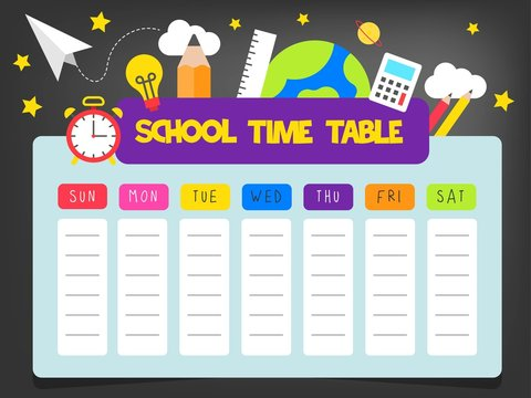 Back to school, School time table vector illustration