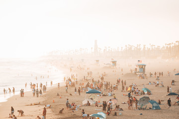 View of the beach on a summer day in Huntington Beach, Orange County, California