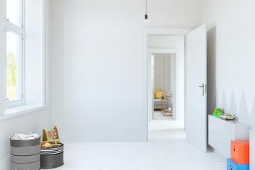 Scandinavian style mock up wall kids room interior. Wall art. 3d rendering, 3d illustration. Fototapete