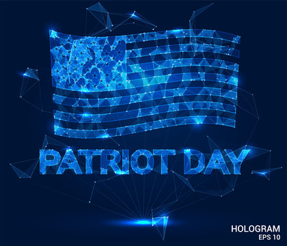 Patriot's day in the USA. Vector poster hologram. September 11, We will never forget. American flag of polygons, triangles of points and lines.