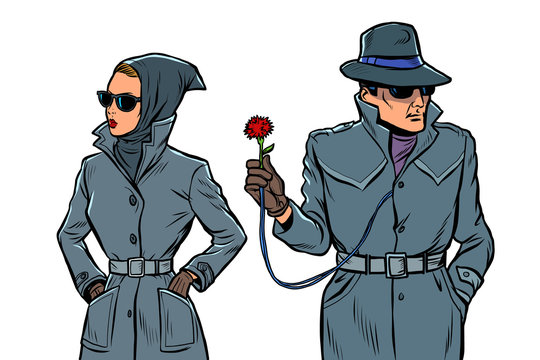 man and woman secret agents, spies. isolate on white background