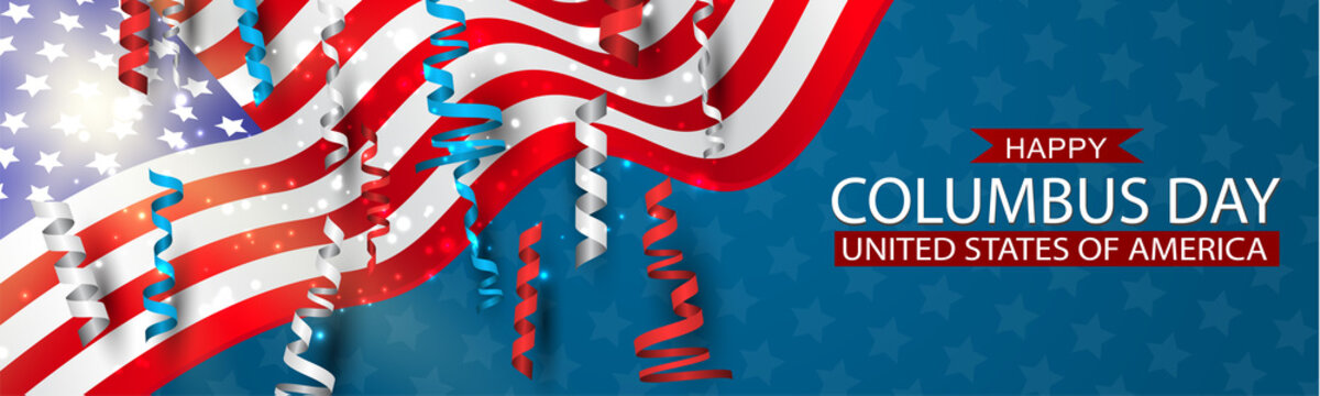 Happy Columbus Day banner with USA flag and blue, red, and white ringlets. United States National holiday advertisment header design. Vector illustration.