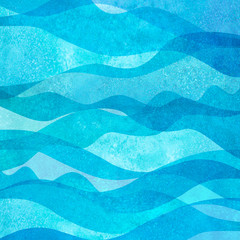 Printed roller blinds Abstract wave Watercolor transparent sea ocean wave teal turquoise colored background. Watercolour hand painted waves illustration