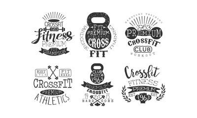 Crossfit Premium Athletics Retro Labels Set, Fitness Workout Vintage Emblems Vector Illustration