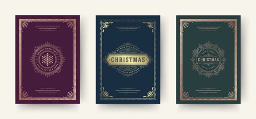 Christmas greeting cards vintage typographic design, ornate decorations symbols with snowflake, winter holidays wishes