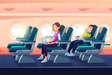 Man sleep in airplane, freelancer girl work on laptop in plane salon, passengers traveling on vacation by aircraft transportation. People sleeping and working during flight Cartoon vector illustration