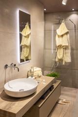 Salle de bain moderne type scandinave dans les tons neutres avec douche italienne et grande vasque arrondie sur un meuble en bois