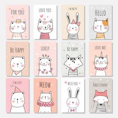 Draw set greeting card of animals on sweet pastel.