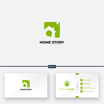 home and story logo design include free business card