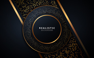 Abstract overlapping layers dark blue background a combination with golden glitters line. Vector design template for use element event frame, cover, banner, corporate advertising.