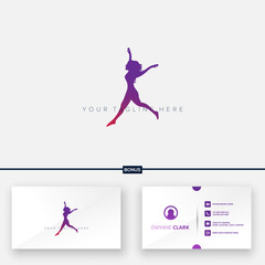 expression woman active silhouette logo designs and business card logo
