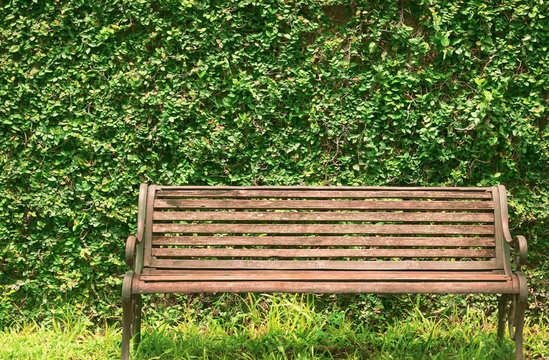 Close up front view of blank old wooden bench in the city park