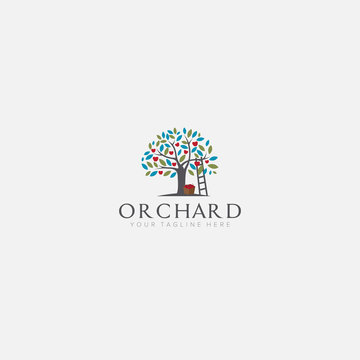apple tree logo designs with stairs orchard
