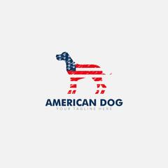 American Flag and Dog Logo Designs for T-Shirt patriotism