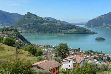 View at lake Iseo on Lombardy, Italy