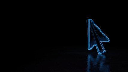 3d glowing wireframe symbol of symbol of mouse pointer isolated on black background