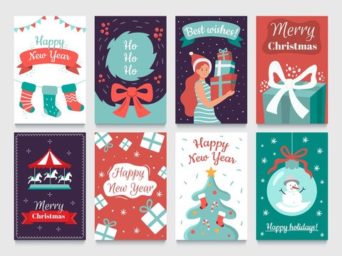 Christmas postcard. Garlands on xmas tree, Happy New year postcards and december winter holidays cards. 2020 christmas party invitation poster or greeting card isolated vector bundle
