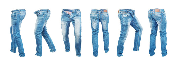 Set of empty blank jeans pants in different poses isolated on a white background
