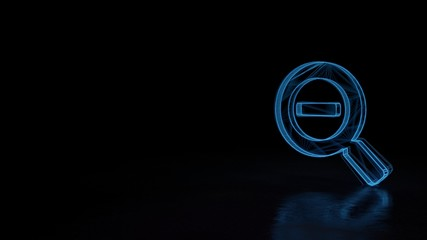 3d glowing wireframe symbol of symbol of search minus isolated on black background
