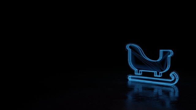 3d glowing wireframe symbol of symbol of sleigh isolated on black background