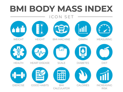 BMI Body Mass Index Round Icon Set of Weight, Height, BMI Machine, Graph, Measuring, Health, Heart Disease, Scale, Diabetes, Diet, Exercise, Habits, BMI Calculator, Calories, Risk Icons.