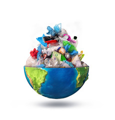 eco concept, heap of garbage inside half of planet, earth. 3d illustration