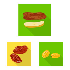Fototapete - Isolated object of fruit and dried icon. Collection of fruit and food stock vector illustration.