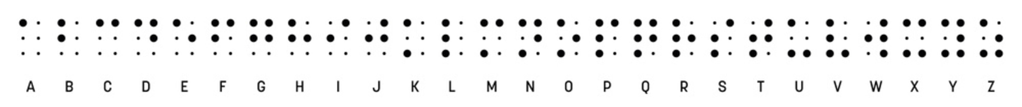 Braille alphabet letters in a row. Braille is a tactile writing system used by blind or visually impaired people. Vector illustration in black and white
