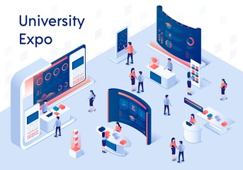 University Expo Stands Isometric Composition.