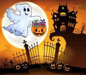 Poster Voor kinderen Halloween ghost near haunted house 5