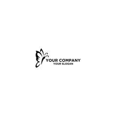 Black Butterfly Tattoo Outline logo design