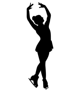 Silhouettes girls skaters. Figure skating. Black and white illustration of a figure skater. Winter sport.