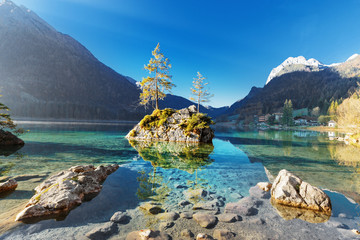 Foto op Aluminium Grijs Lake Hintersee in Germany, Bavaria, National Park Ramsau in Alps. Beautiful autumnal Alpine landscape, amazing light during sunrise. Incredible seasonal autumn scenery. Famous landmark in Germany.