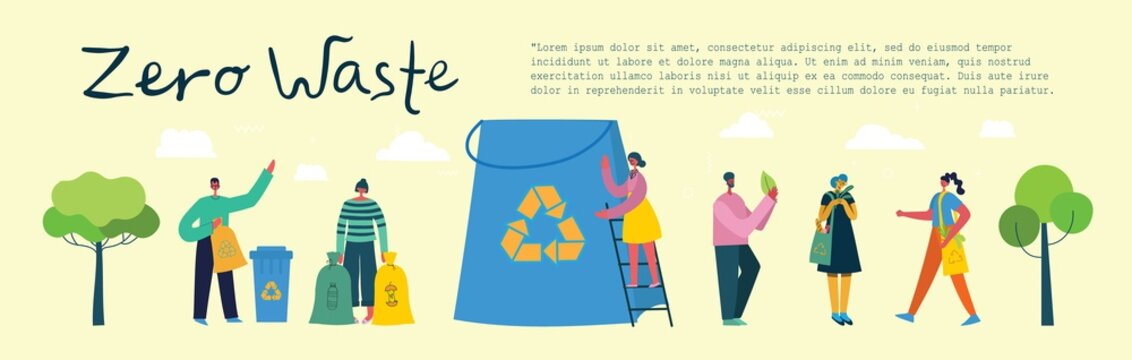 Vector illustration ECO background of Concept of Zero Waste, Green eco energy and Save the planet.