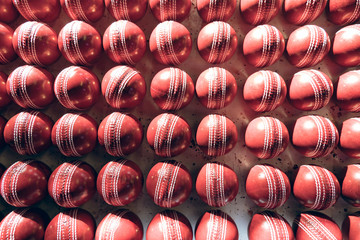 Overhead view of cricket balls in row