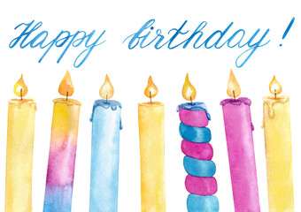 Watercolor hand drawn colorful birthday candles with flame set with hand writing lettering isolated on white background, decoration for birthday card.