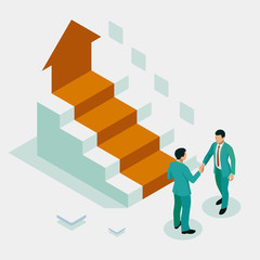 Ladder to success. Isometric Successful business collaboration. Businessmen shaking hands. B2B. Data and key performance indicators for business intelligence analytics