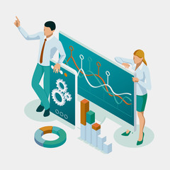 Isometric Expert team for Data Analysis, Business Statistic, Management, Consulting, Marketing, Financial administration, Audit, business statement concept.