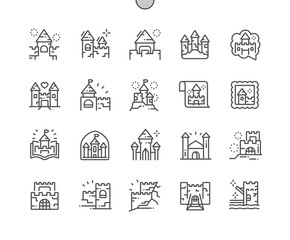 Castles and fortresses Well-crafted Pixel Perfect Vector Thin Line Icons 30 2x Grid for Web Graphics and Apps. Simple Minimal Pictogram