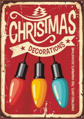 Christmas decorations store vintage metal sign with colorful lights on red background. Retro holiday poster design template for Christmas decor and ornaments. Vector illustration.