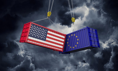 USA and europe trade war concept. Clashing cargo containers. 3D Render Wall mural