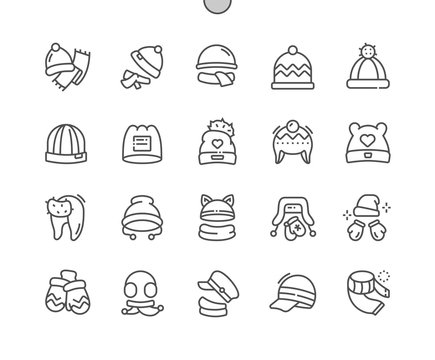 Winter headwear Well-crafted Pixel Perfect Vector Thin Line Icons 30 2x Grid for Web Graphics and Apps. Simple Minimal Pictogram