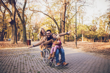 Disabled father in wheelchair enjoying with his daughter and wife outdoors in park.